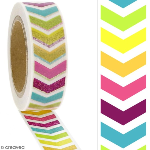 Masking tape Chevrons multicolores - 1,5 cm x 10 m - Photo n°2