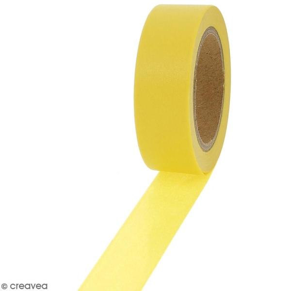 Masking tape Jaune soleil uni - 1,5 cm x 10 m - Photo n°1