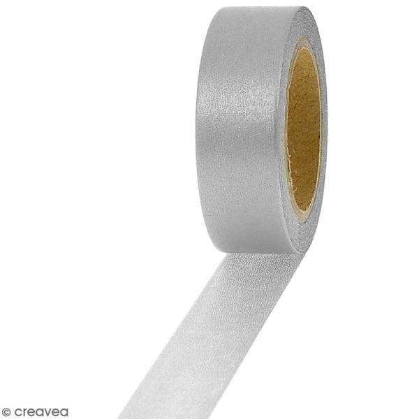 Masking tape Foil Argenté uni - 1,5 cm x 10 m - Photo n°1
