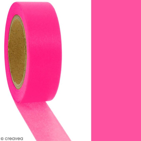 Masking tape Rose fluo uni - 1,5 cm x 10 m - Photo n°2