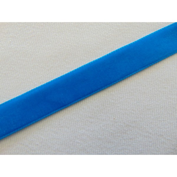 Ruban velours, bleu vénitien, au mètre - Photo n°1