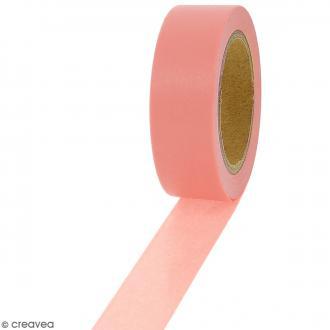 Masking tape Rose saumon uni - 1,5 cm x 10 m