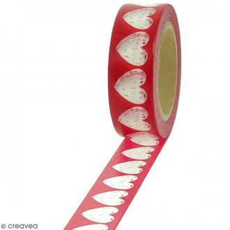 Masking tape Coeurs transparents sur fond rouge - 1,5 cm x 10 m