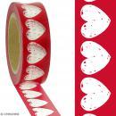 Masking tape Coeurs transparents sur fond rouge - 1,5 cm x 10 m - Photo n°2