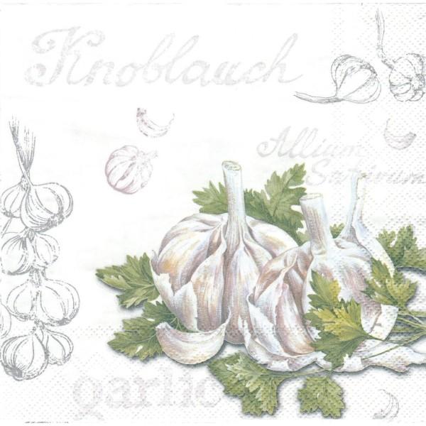4 Serviettes en papier cuisine Ail Format Lunch Decoupage Decopatch L-598000 IHR - Photo n°1