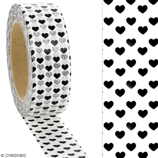 Masking tape Petits coeurs foncés sur fond blanc - 1,5 cm x 10 m - Photo n°2