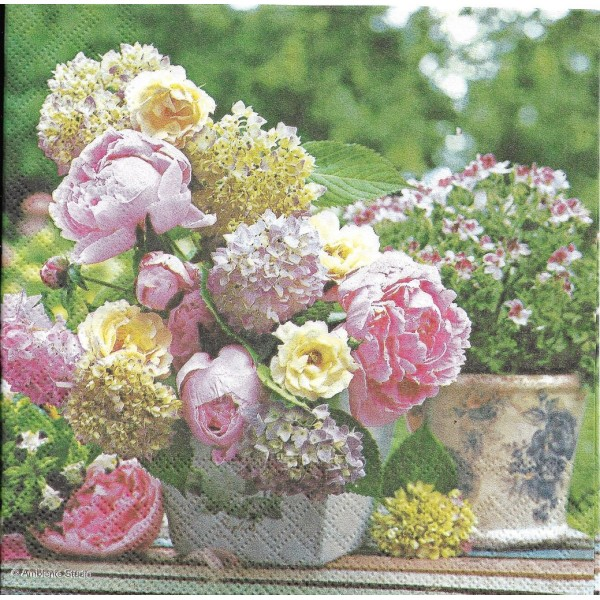 4 Serviettes en papier Bouquet de Pivoines Format Lunch Decoupage Decopatch 13309705 Ambiente - Photo n°2