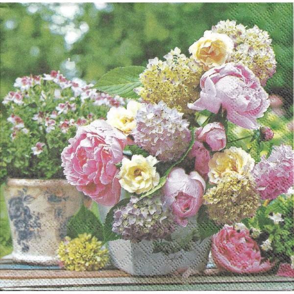 4 Serviettes en papier Bouquet de Pivoines Format Lunch Decoupage Decopatch 13309705 Ambiente - Photo n°1