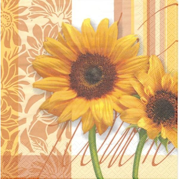 4 Serviettes papier Fleurs de Tournesol caramel Format Lunch Decoupage Decopatch Ti-Flair 342032 - Photo n°1