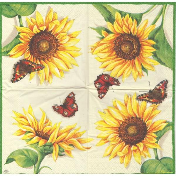 4 Serviettes en papier Fleur de Tournesol & Papillon Format Lunch Decoupage Decopatch L-20360 IHR - Photo n°1