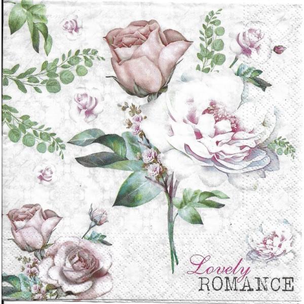4 Serviettes en papier Fleurs Roses Romance Format Lunch Decoupage Decopatch 75239 Nouveau - Photo n°2