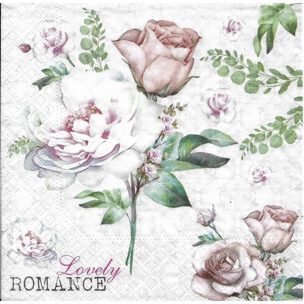 4 Serviettes en papier Fleurs Roses Romance Format Lunch Decoupage Decopatch 75239 Nouveau - Photo n°1