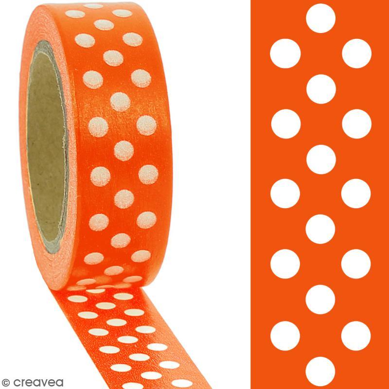 Masking tape Pois blancs sur fond orange - 1,5 cm x 10 m - Photo n°2