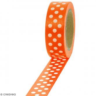 Masking tape Pois blancs sur fond orange - 1,5 cm x 10 m