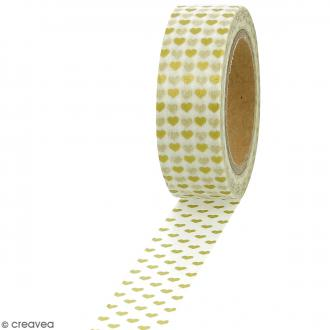 Masking tape Foil Petits coeurs dorés sur fond blanc - 1,5 cm x 10 m