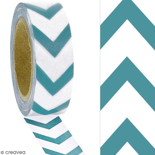 Masking tape Chevrons bleus sur fond blanc - 1,5 cm x 10 m - Photo n°2