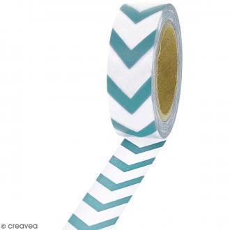 Masking tape Chevrons bleus sur fond blanc - 1,5 cm x 10 m
