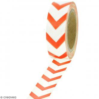 Masking tape Chevrons orange sur fond blanc - 1,5 cm x 10 m