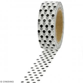 Masking tape Pois gris et noirs sur fond blanc - 1,5 cm x 10 m