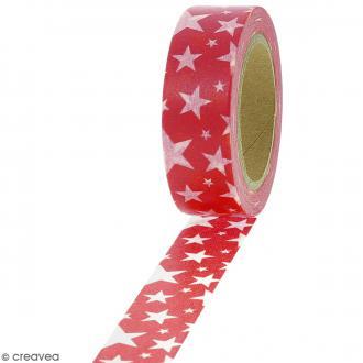 Masking tape Etoiles blanches sur fond rouge foncé - 1,5 cm x 10 m