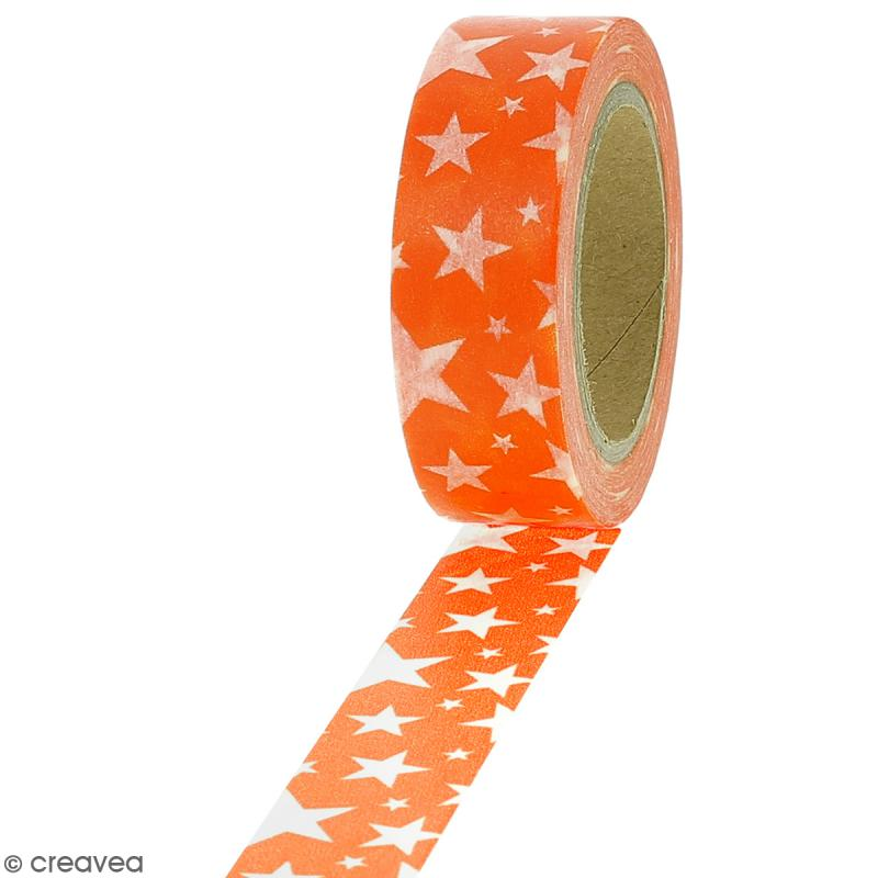 Masking tape Etoiles blanches sur fond orange - 1,5 cm x 10 m - Photo n°1