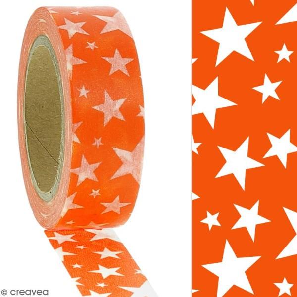 Masking tape Etoiles blanches sur fond orange - 1,5 cm x 10 m - Photo n°2