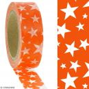 Masking tape Etoiles blanches sur fond orange - 1,5 cm x 10 m - Photo n°2