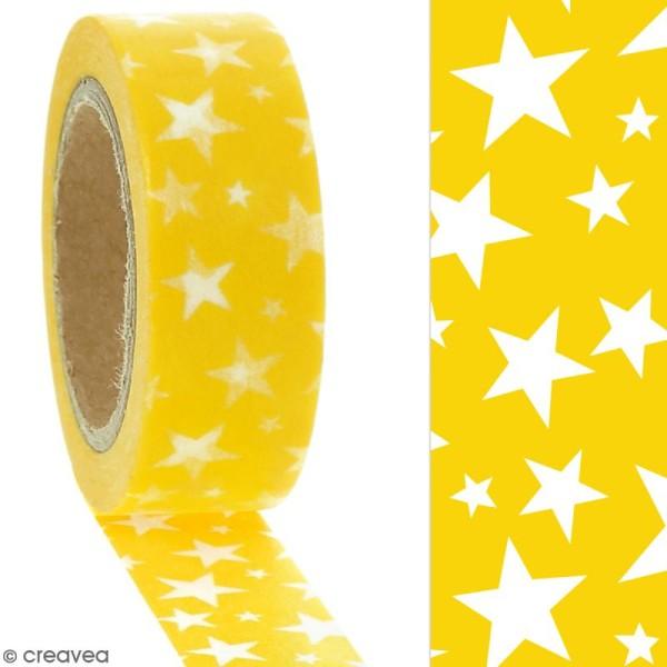 Masking tape Etoiles blanches sur fond jaune - 1,5 cm x 10 m - Photo n°2
