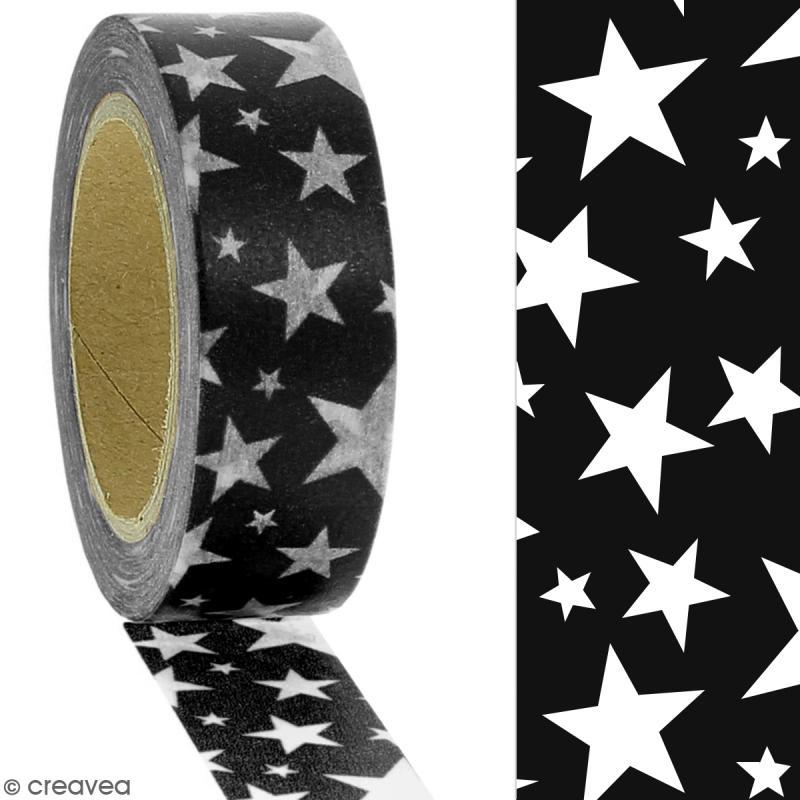 Masking tape Etoiles blanches sur fond noir - 1,5 cm x 10 m - Photo n°2