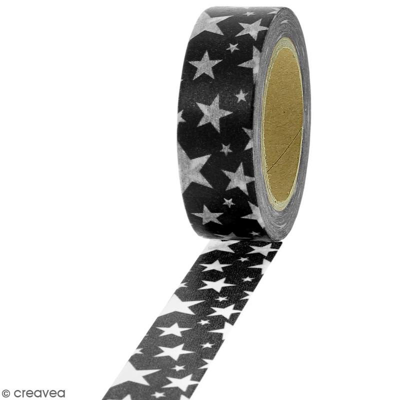 Masking tape Etoiles blanches sur fond noir - 1,5 cm x 10 m - Photo n°1