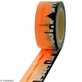Masking tape Ville de Paris sur fond orange - 2 cm x 10 m