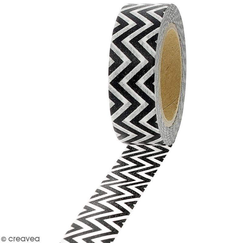 Masking tape Chevrons noirs et blancs - 1,5 cm x 10 m - Photo n°1