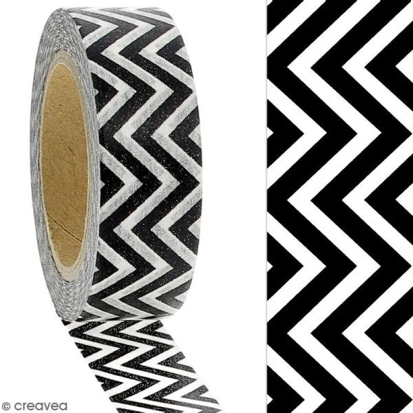 Masking tape Chevrons noirs et blancs - 1,5 cm x 10 m - Photo n°2