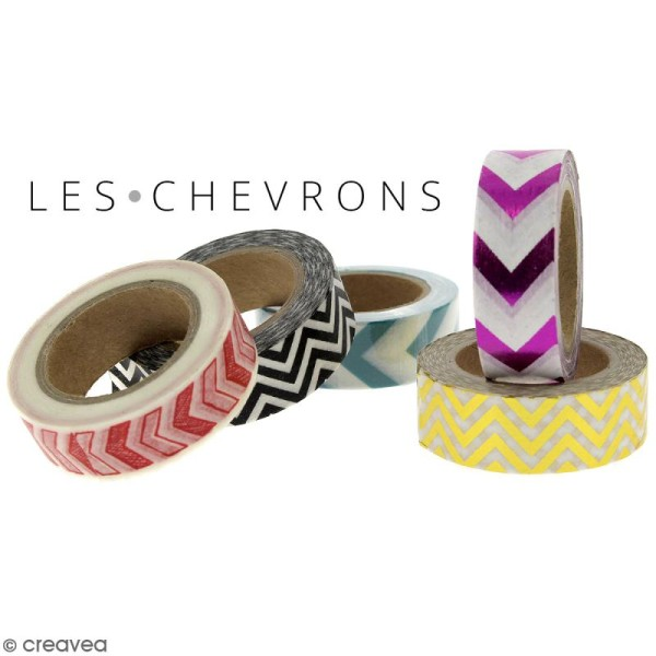 Masking tape Chevrons noirs et blancs - 1,5 cm x 10 m - Photo n°3