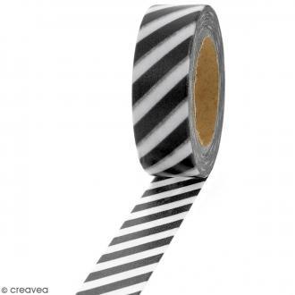 Masking tape Lignes noires et blanches - 1,5 cm x 10 m