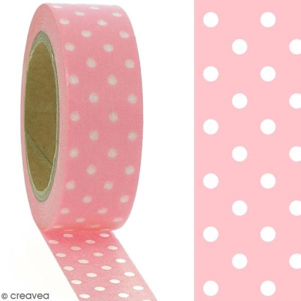 Masking tape Pois blancs sur fond rose clair - 1,5 cm x 10 m - Photo n°2