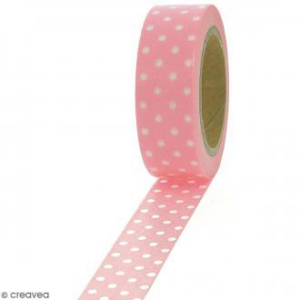 Masking tape Pois blancs sur fond rose clair - 1,5 cm x 10 m
