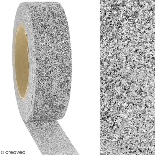 Masking tape Glitter Gris argenté - Résistant - 1,5 cm x 5 m - Photo n°2