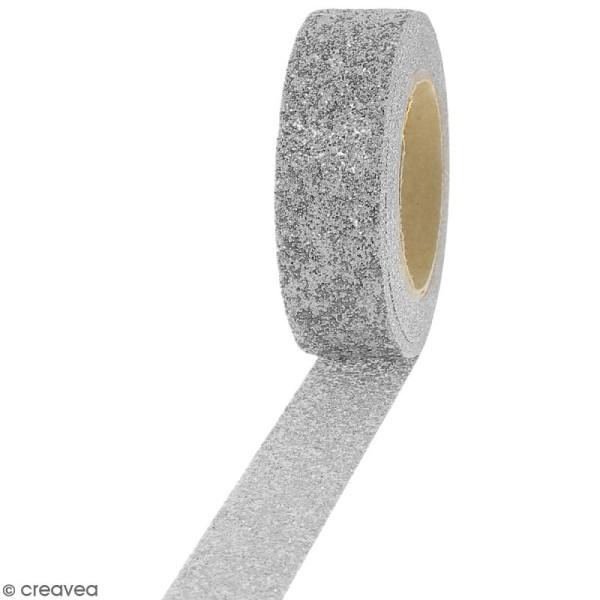 Masking tape Glitter Gris argenté - Résistant - 1,5 cm x 5 m - Photo n°1
