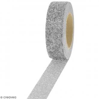 Masking tape Glitter Gris argenté - Résistant - 1,5 cm x 5 m