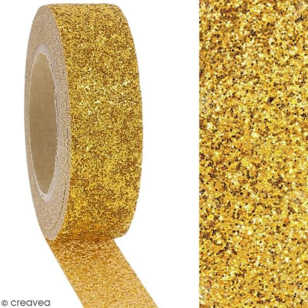 Masking tape Glitter Jaune doré - Résistant - 1,5 cm x 10 m - Photo n°2