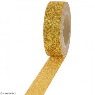 Masking tape Glitter Jaune doré - Résistant - 1,5 cm x 10 m