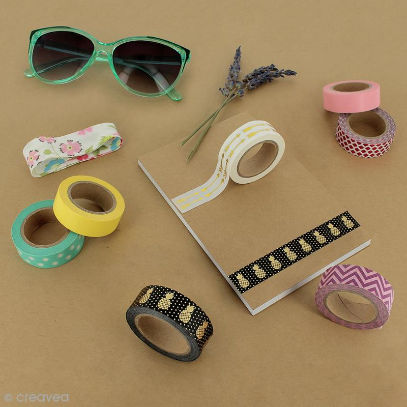Masking tape Glitter Etoiles sur fond gris pailleté - Résistant - 1,5 cm x 10 m - Photo n°4