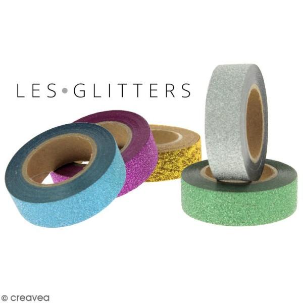 Masking tape Glitter Etoiles sur fond gris pailleté - Résistant - 1,5 cm x 10 m - Photo n°3