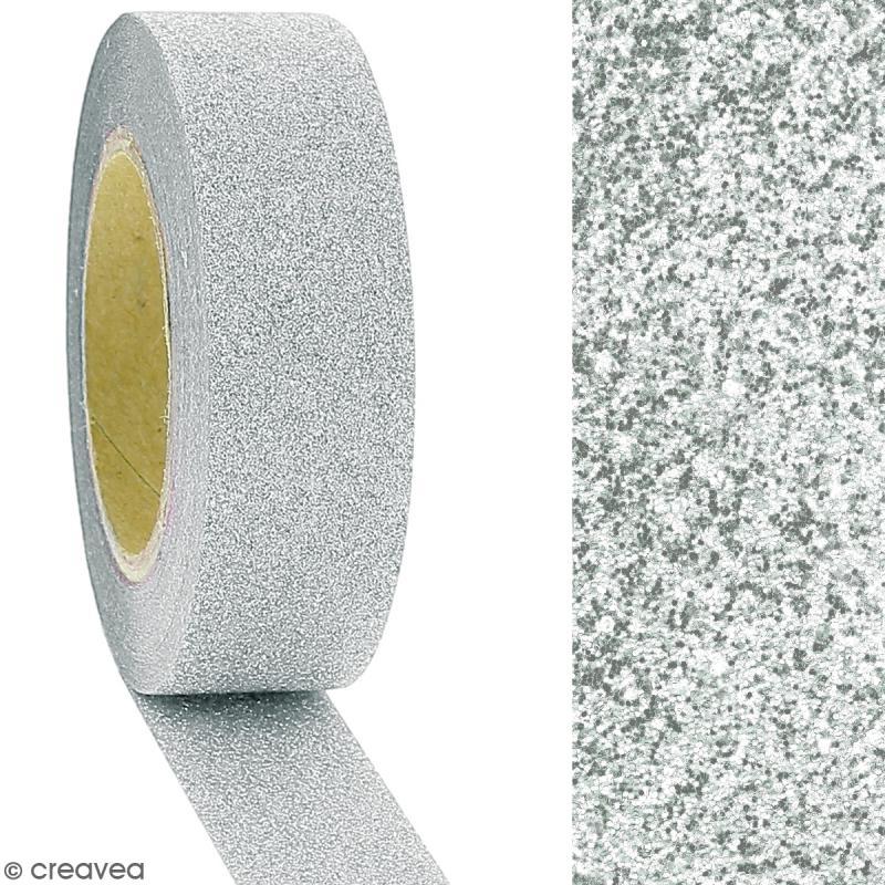 Masking tape Glitter Gris - Résistant - 1,5 cm x 10 m - Photo n°2