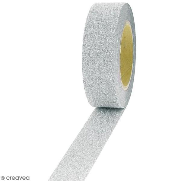 Masking tape Glitter Gris - Résistant - 1,5 cm x 10 m - Photo n°1