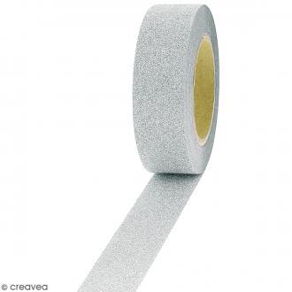 Masking tape Glitter Gris - Résistant - 1,5 cm x 10 m