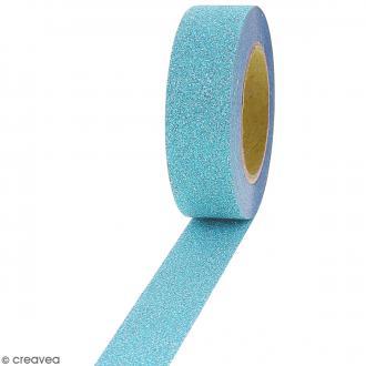 Masking tape Glitter Bleu clair - Résistant - 1,5 cm x 10 m