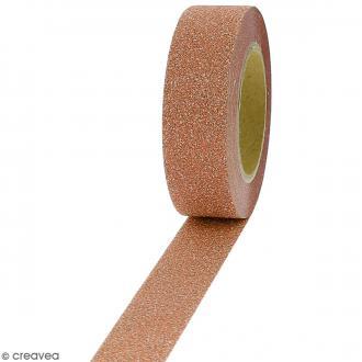 Masking tape Glitter Orange - Résistant - 1,5 cm x 10 m