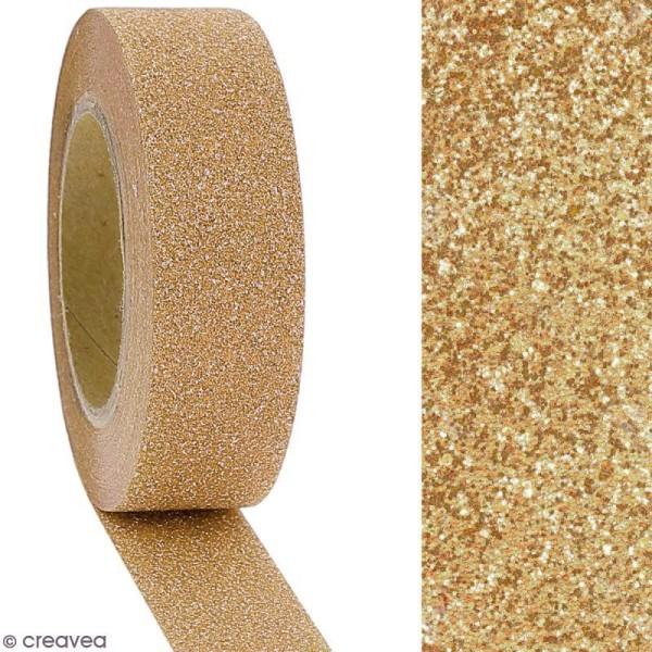 Masking tape Glitter - Beige champagne - Résistant - 1,5 cm x 10 m - Photo n°2